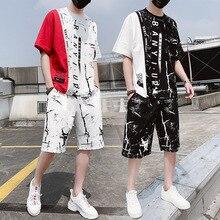 AmberHeard nueva moda de verano para hombre traje deportivo de manga corta Camiseta + Pantalones cortos Hip Hop ropa deportiva conjunto de dos piezas para los hombres chándales