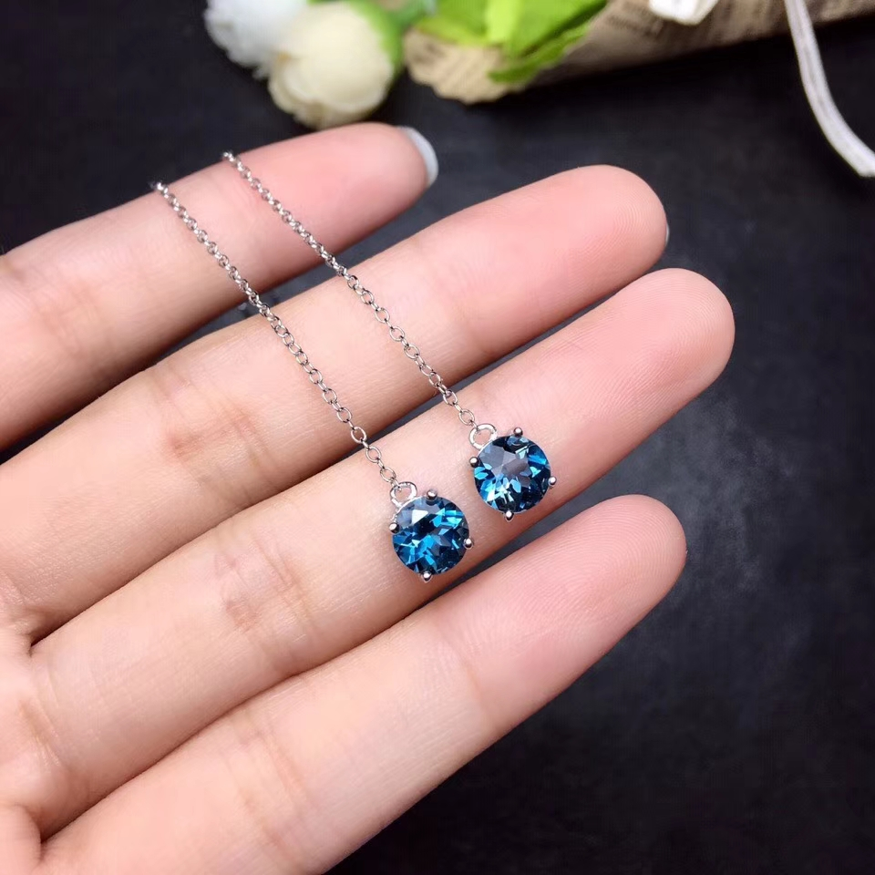 natural blue topaz gem drop earrings 925 silver Natural gemstone Ear line earring women simple round drop earrings for party все цены