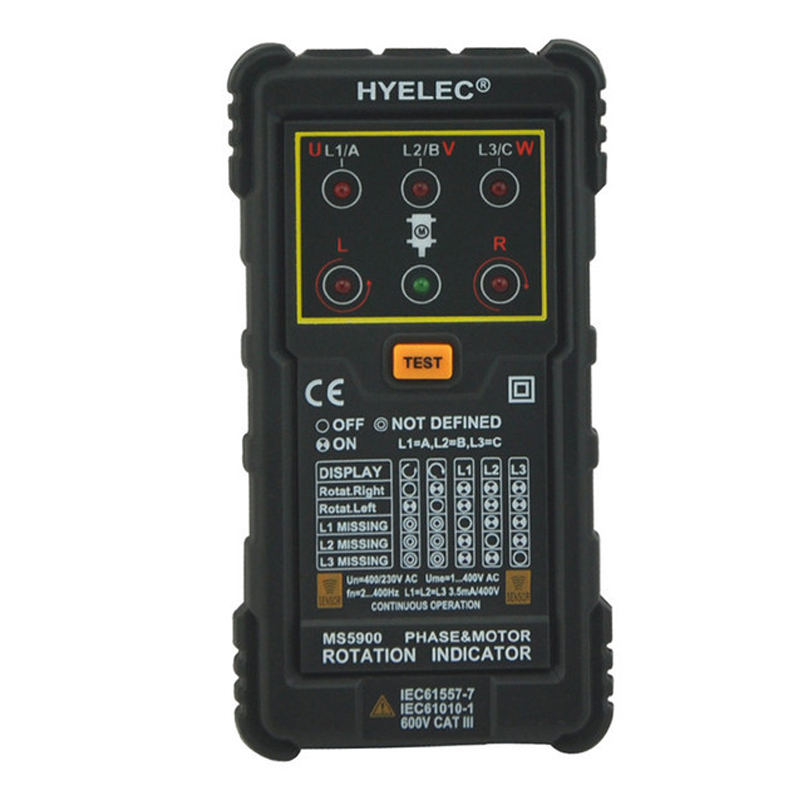 Tools : Peakmeter MS5900 Motor  amp  Phase Rotation Indicator Three Phase Rotation Indicator Sequence Voltage Current Frequency Tester