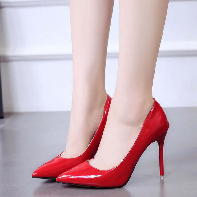 2019 HOT Women Shoes Pointed Toe Pumps Patent Leather Dress  High Heels Boat Shoes Wedding Shoes Zapatos Mujer Blue White 41