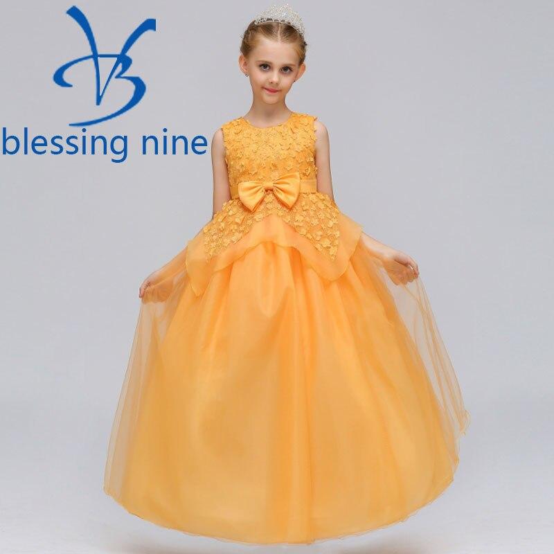 где купить 3-12Years Kids Wedding Dress Elegant Bow Princess Dress Girls Costumes Sleeveless Girls Party Dresses Long Summer Clothes по лучшей цене