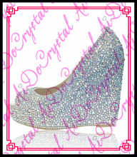 Aidocrystal 2016 Sommer AB Farbe Kristall Keil Frauen Schuhe Mode Aus Echtem Leder Offene spitze Sandalen
