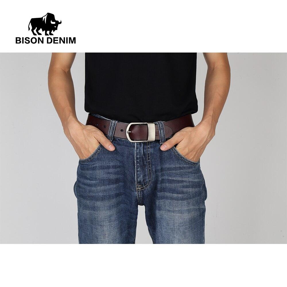 BISON DENIM Berömda män Belt Jeans Äkta Läder Pin Buckle Cowboy - Kläder tillbehör - Foto 5