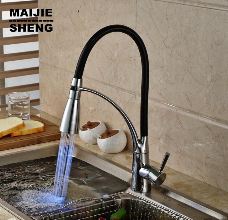 2016 new LED pull down kitchen faucet torneira cozinha Led light kitchen tap pull out kitchen mixer pull out sink torneiras 2015 smoked pull out kitchen faucet pull down sink swan faucet kitchen tap torneira cozinha kitchen mixer tap