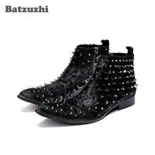 Мужские ботинки в стиле рок черные В рыцарском с серебристыми