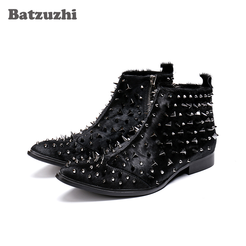 Rock Men Boots Western Knight Boots Black Horse Hair Ankle Boots Men with Silver Rivets Safety Boots Military Spikes Men BotasRock Men Boots Western Knight Boots Black Horse Hair Ankle Boots Men with Silver Rivets Safety Boots Military Spikes Men Botas