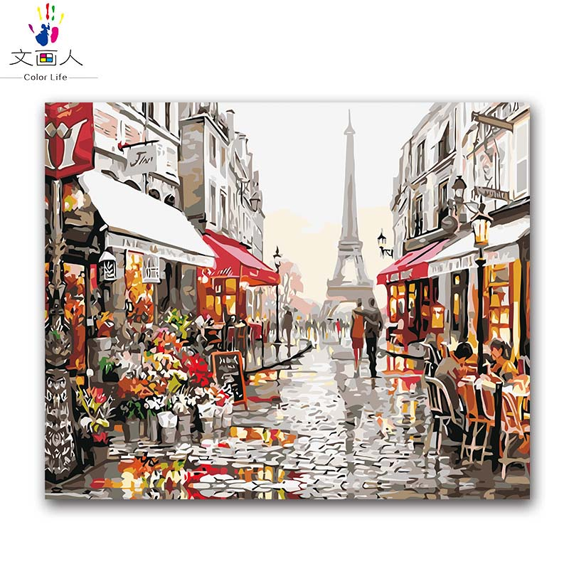 Scenery Building Painting By Numbers Paris Street Tower Diy Art Number In The Room On Canvas Office,apartment Decoration
