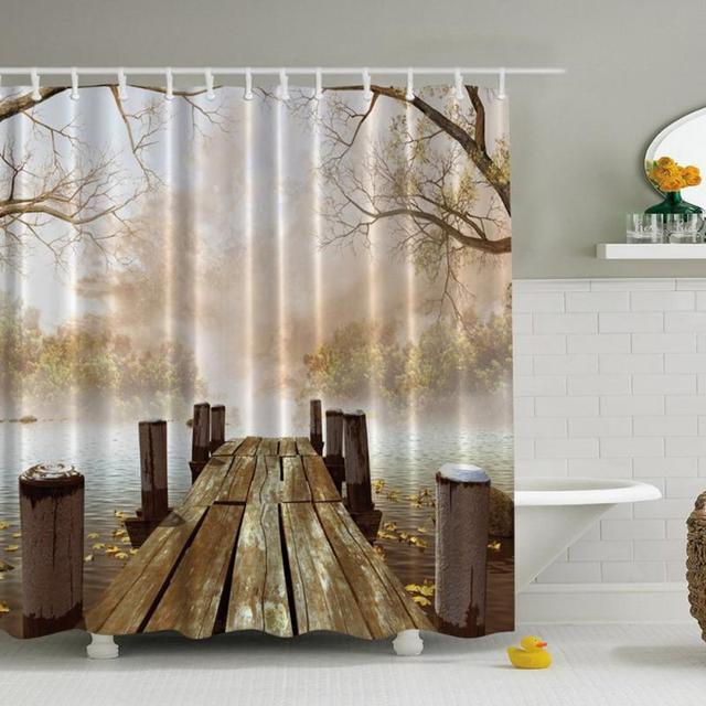 Duschvorhang 3D Drucken Landschaft Vorhänge Badezimmer Dekoration ...