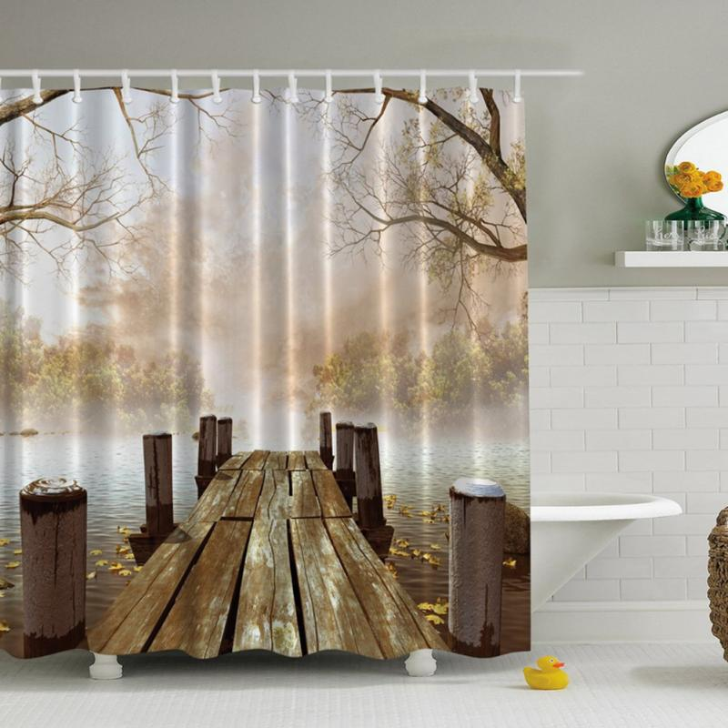 Shower Curtain 3D Print Landscape Curtains Bathroom Decoration Mat ...