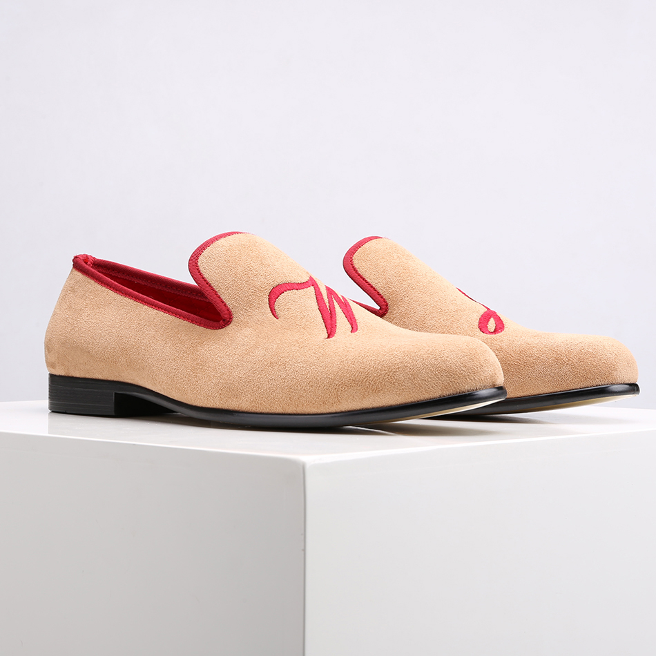Suede-Shoes Surom Loafers Embroidery Personality Letter with Customize Wedding And Banquet
