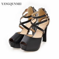 Sandals PU Cross Straps Woman S Shoes Big 45 46 40 41 42 Small 32 33