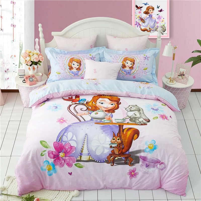 Disney nouvelle sofia princesse couette ensemble de literie unique double reine taille housse de couette ensemble fille chambre décor coton literie