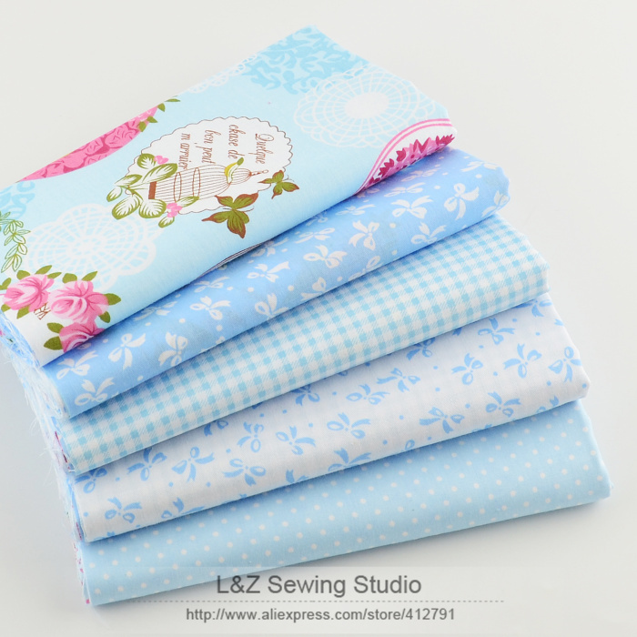Booksew Cotton Fabric 40cm * 50cm 5pcs Blue Fat Quarter Quilting Patchwork Tissue Kids Baby Sengetøy Tekstil For Søm Tilda Dukke
