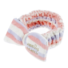 Big bow elasticity Pastel color stripe Soft for washing face Hair bands (Purple+Pink+White)