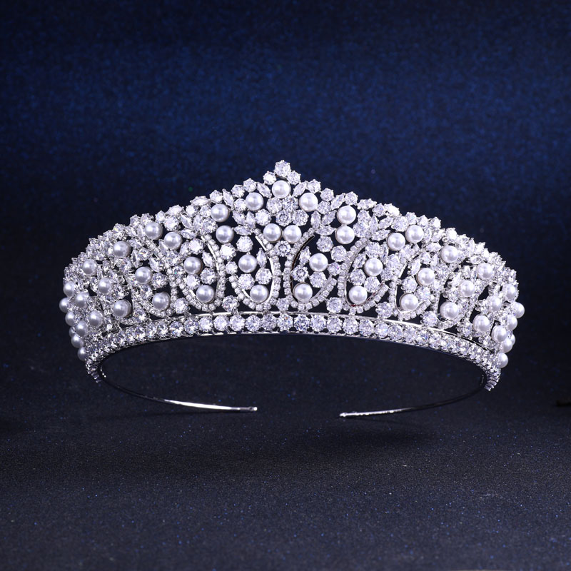 jankelly Top Quality Wedding Bridal Bridesmaid leaf Cubic Zirconia Pearl Hairwear zircon tiara crown / headband For Prom