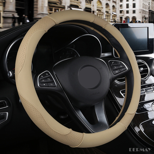 Image 5 - Dermayスポーツスタイルコントラスト色ノンスリップ汗良い通気性puレザーレット15インチ車のステアリングホイールカバー送料無料