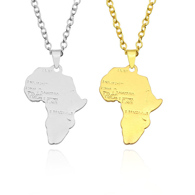 Hiphop Map of Africa Necklaces Pendants Gold Silver Globe World Map African Maps Pendant Necklace Women Men Earth Jewelry Colar