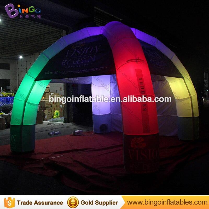 Индивидуальные 5x5 метров светодиодный освещения надувной купол шатер с 4 ноги мобильного паук палатка с цифровой печатью для реклама