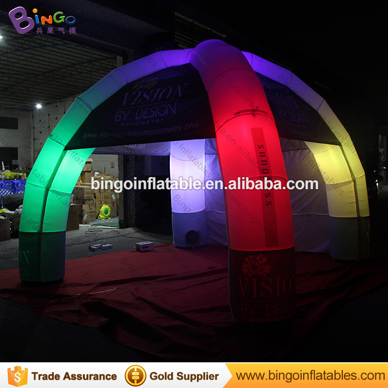 Customized 5x5 meters LED lighting inflatable dome marquee with 4 legs mobile spider tent with digital printing for advertising