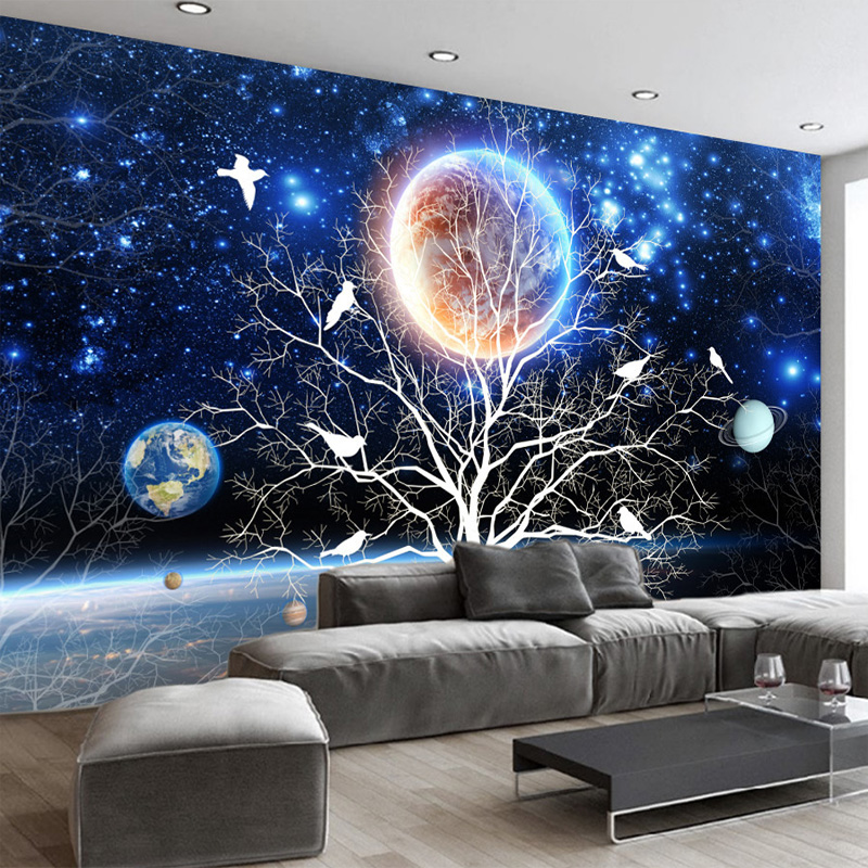 Customize Any Size Mural 3D Starry Tree Flowers And Birds Wall Painting Modern Living Room Sofa Home Decoration Photo Wallpaper