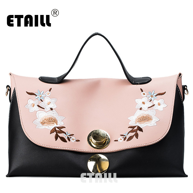 ETAILL New Top Handle Chinese Embroidered Handbags Large Capacity Tote Bag Big Ladies Shoulder Bags Famous Brand Bolsas Feminina hot sale 2016 france popular top handle bags women shoulder bags famous brand new stone handbags champagne silver hobo bag b075