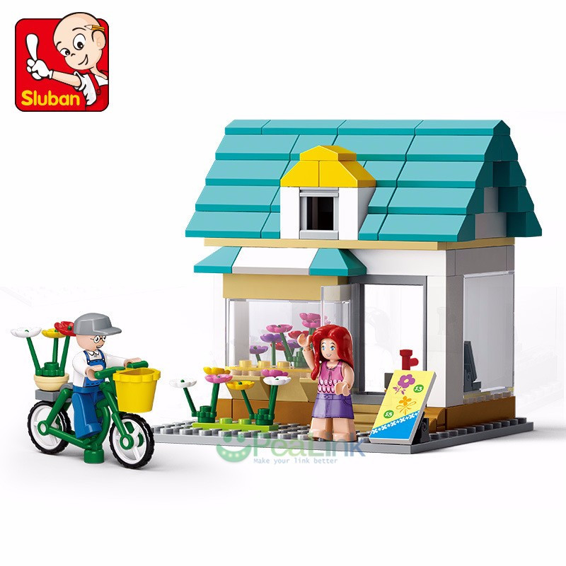 Sluban 149Pcs Flower Shop SimCity Large Scene Friends Building Blocks City Building Toys for Children Christmas Gift image