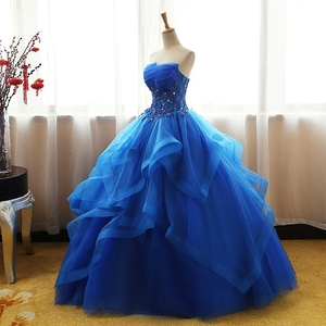 Image 3 - Fashion Luxury Lace Black Blue Champagne Quinceanera Dress Ruched Crystal Organza Vestidos De 15 Debutante Gown Bohemia Princess