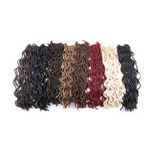 Luxury For Braiding  Syntheic Hair Extensions 20inch 24strands/pack Brown Black Blonde Faux Locs Curly Crochet Braids