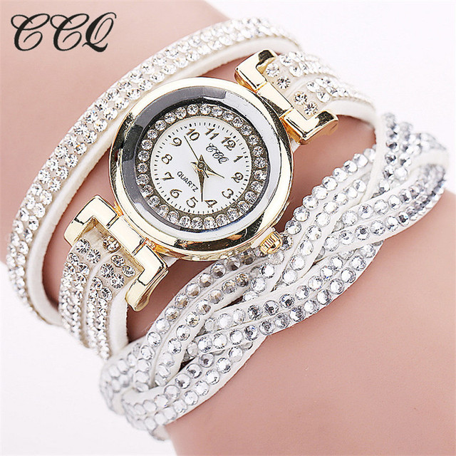CCQ 2016 New Fashion Casual Quartz Women Rhinestone Watch Braided Leather Bracel