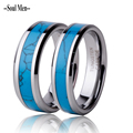 (2pcs/lot) 7mm/5mm Natural Turquoise Ring Tungsten Band Ring For Men Women Jewelry Wedding Engagement Band Couple Rings WTU054RW