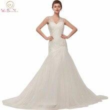Walk Beside You Mermaid Wedding Gowns robe mariage 2018 White Ivory Pleats Beaded Crystal Bridal Dress Cheap Vestido de Festa