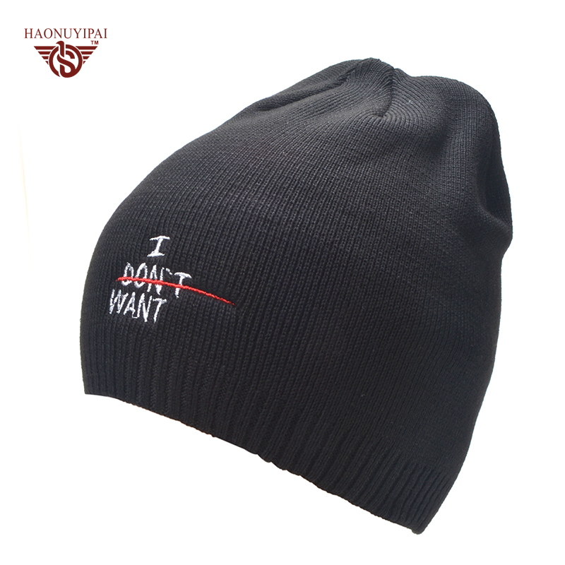 The New bonnet embroidery hat men's winter beanie man skullies Knitted wool beanies men Winter Hats Hip Hop caps Autumn gorros men s skullies winter wool knitted hat outdoor warm casual solid caps for men caps hats