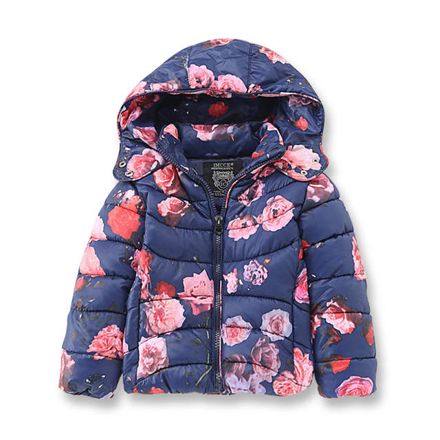 b84a1f112034 Girls Winter Coat Children Casual Hooded Warm Coat Cotton Printed ...