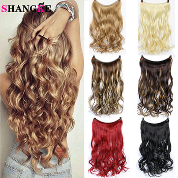 SHANGKE 24'' Wavy Invisible Wire No Clips in Hair Extensions Secret Fish Line Hairpieces Natural Synthetic