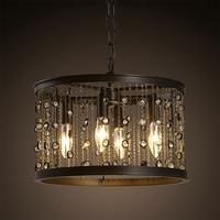 Lampe à suspension Vintage américaine  pampille en fer lumière industrielle circulaire Bar de Restaurant lampe en cristal salon lampe à bougie pendant lamp vintage pendant lamp lamp living -