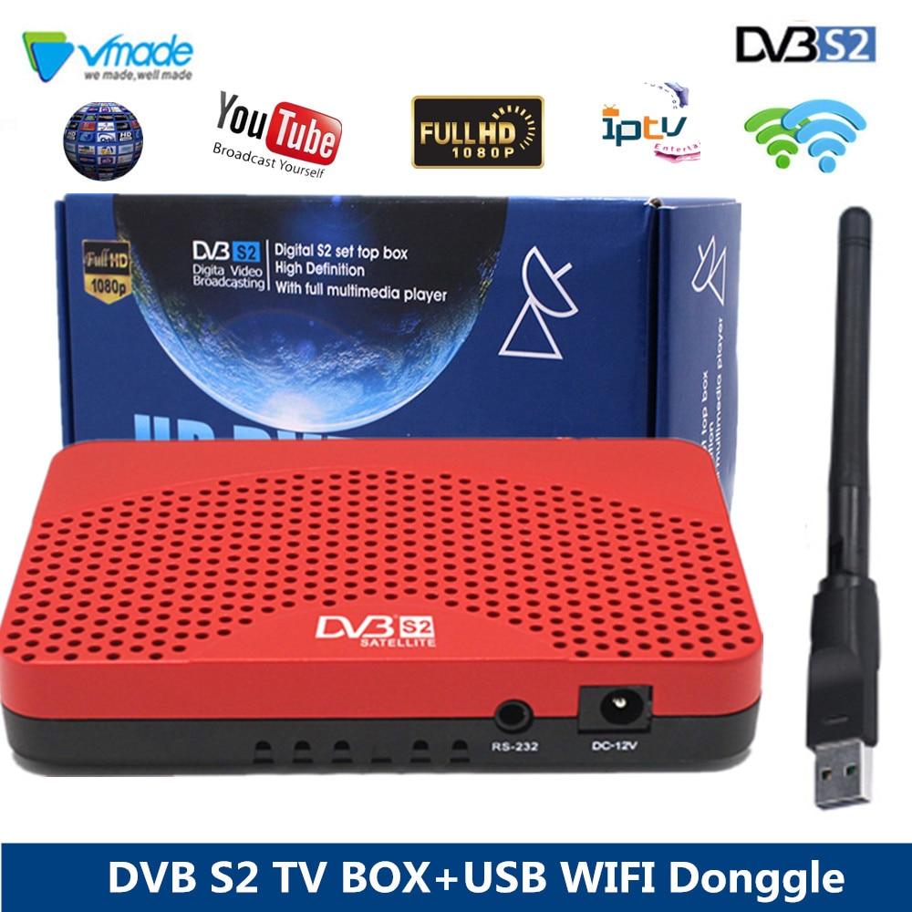Vmade S2 HD Receptor de TV Por Satélite Receptor DVB Receptor Digital com WI-FI USB Donggle DVB-S2 Decodificador de Satélite de apoio CCCAM