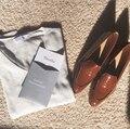 Mulheres sapatos de couro Genuíno 2016 outono boca rasa plana-everlane moda de fundo chato apartamentos dedo apontado sapatos de couro