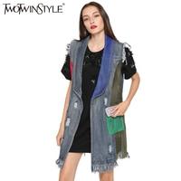 TWOTWINSTYLE 2017 Summer Women Patchwork Grid Mesh Denim Vest Coat Sleeveless Ripped Tassel Jeans Jackets Cardigan