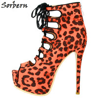 Sorbern Women Pumps 2018 Plus Chinese Size 34 47 High Thin Heels Peep Toe Lace Up