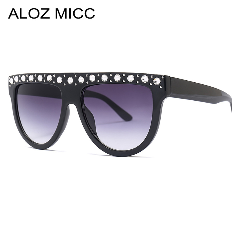 ALOZ MICC Women Oversized Rhinestones Sunglasses Fashion Square Vintage Shades Luxury Female Oculos Q457
