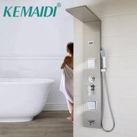 KEMAIDI Shower Column With Massage Jets Solid Brass Bathroom Rainfall Shower Head W/Hand Sprayer Faucet Shower Set Faucets