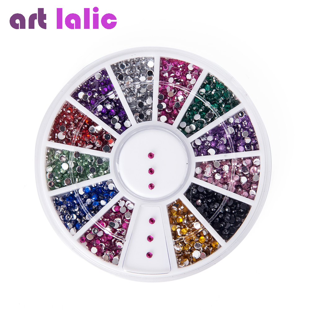 2000 1.5 mm cores sortidas rodada Glitter Nail Art strass decoração roda