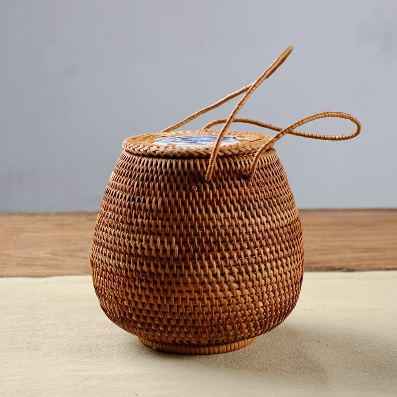 Pu er Tea basket Rattan storage box with lid square handicraft tea bucket tea handmade crafts