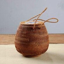 Чай pu'er корзины из ротанга коробка для хранения с крышкой квадратный ремесленных чай ведро чая ручной работы ремесла шкатулка Органайзер