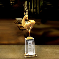 Gold appearance Snow field star Tibetan antelope Gift home desktop decor ornaments(A803)