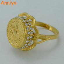 Anniyo Gold Color Turkey Coin Ring for Women Girls Turkey Rings for Girl Turks Jewelry Turk Items #003212(China)
