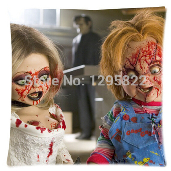 "Hot Sale Custom Chucky Doll Soft Fashion Cotton Zippered Linen Decorative Single Pillow Case Size 18""x18''(Twin Sides)U007"