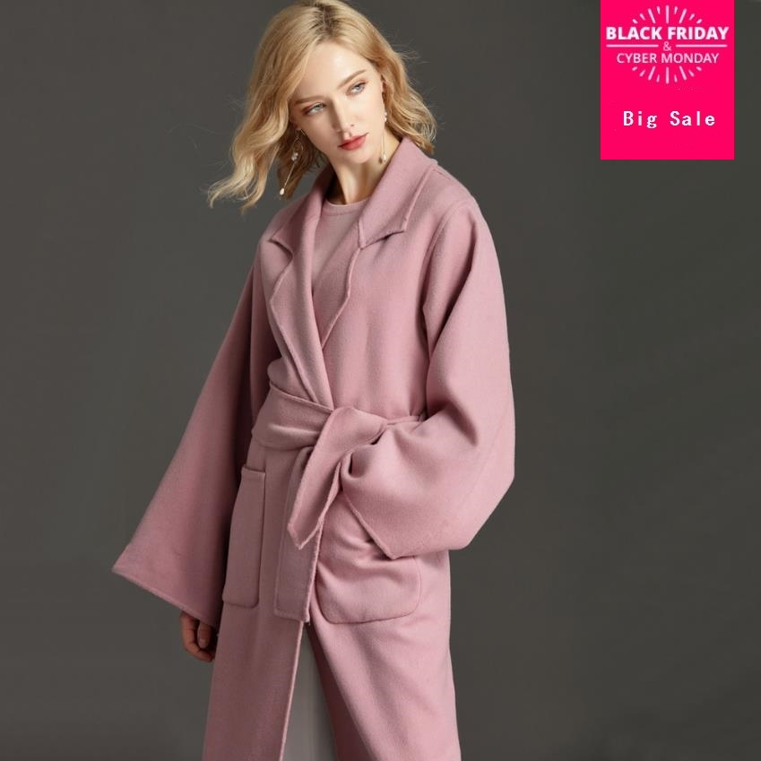 winter and autumn fashion brand double sides 100% cashmere woolen jacket female longer thicker warm woolen coat with beltwq437