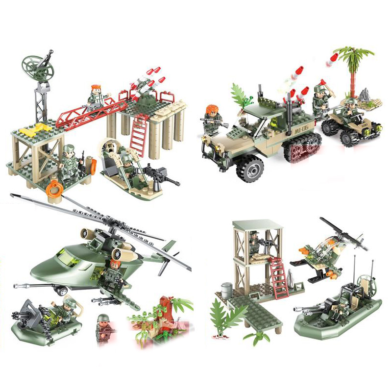 Diplomatic Military Fierce Fighting Jungle Counterattack Brickmania Minifigs Block Ww2 Army Figure Helicopter Armored Transport Vehicle Toy An Enriches And Nutrient For The Liver And Kidney Model Building