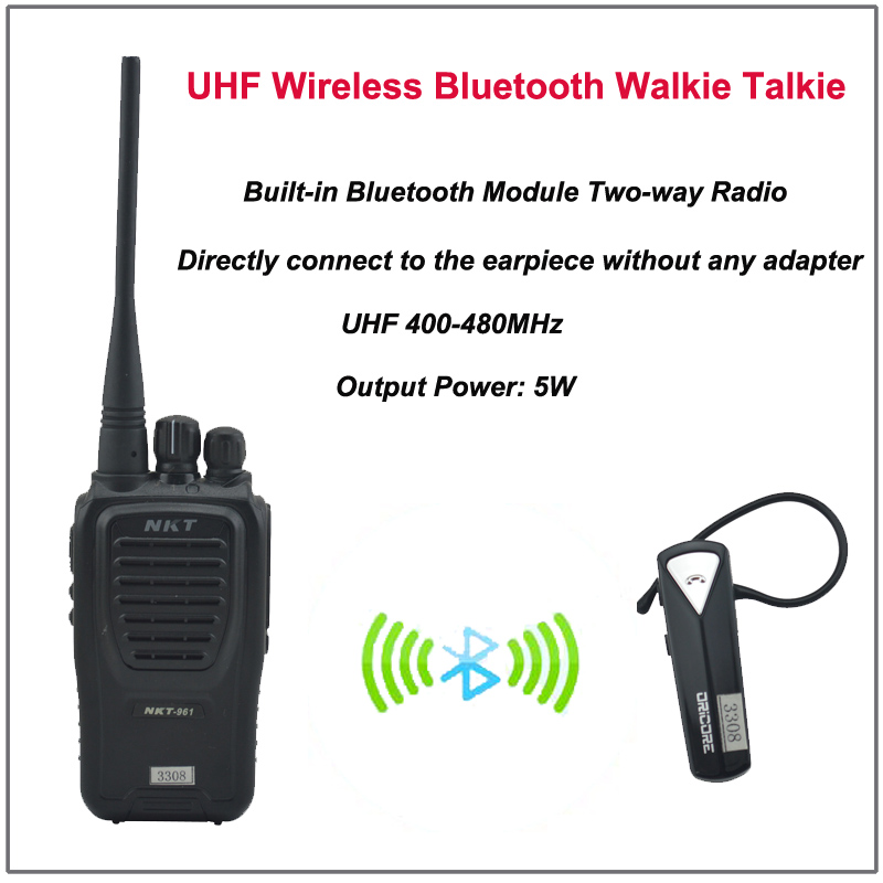 US $125 0 |NKT 961B Walkie Talkie Bluetooth UHF 400 470MHz 16CH 4W Built in  Bluetooth Module Two way radio with Wireless Bluetooth Headset-in Walkie